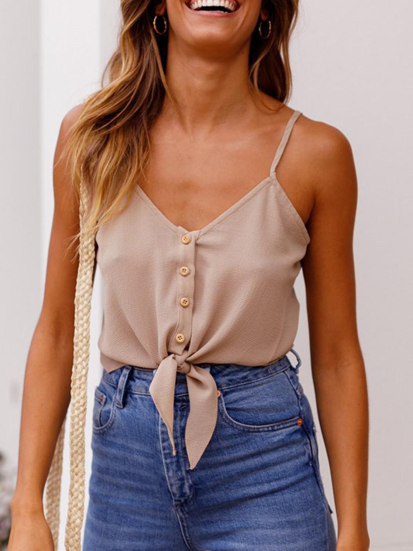 4b982f9f053aa9 Khaki V-neck Button Placket Front Chic Women Crop Cami Top - Choies ...