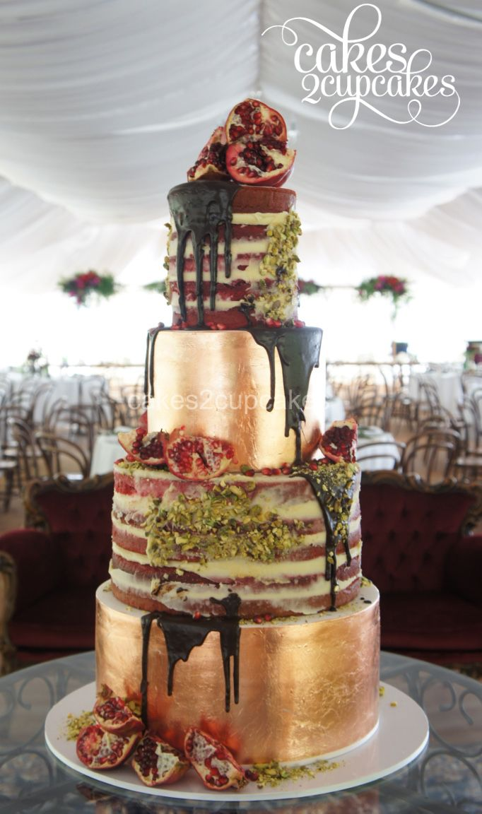 Rose gold naked cake by Cakes2Cupcakes