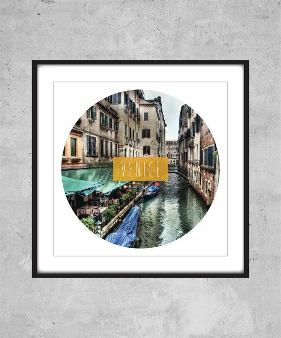 Venice Print  Italy city world travel text by AugustPrints on Etsy