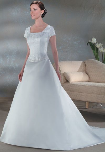 Mock Two-piece Short Sleeve Informal Wedding Dresses   Informal ...
