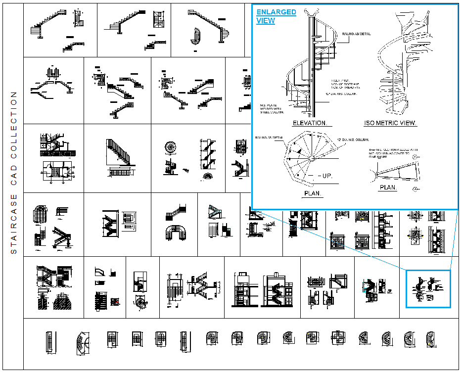 Download this full collection of over 60 2d cad blocks of Spiral stair cad