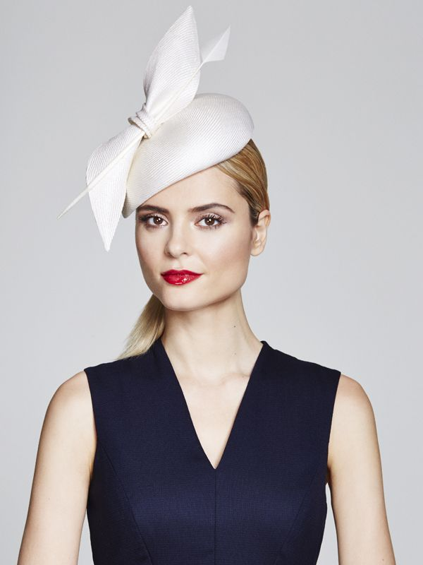 Juliette Botterill S/S 2015 Straw Beret in pearl white with angled bow and arrow feather.