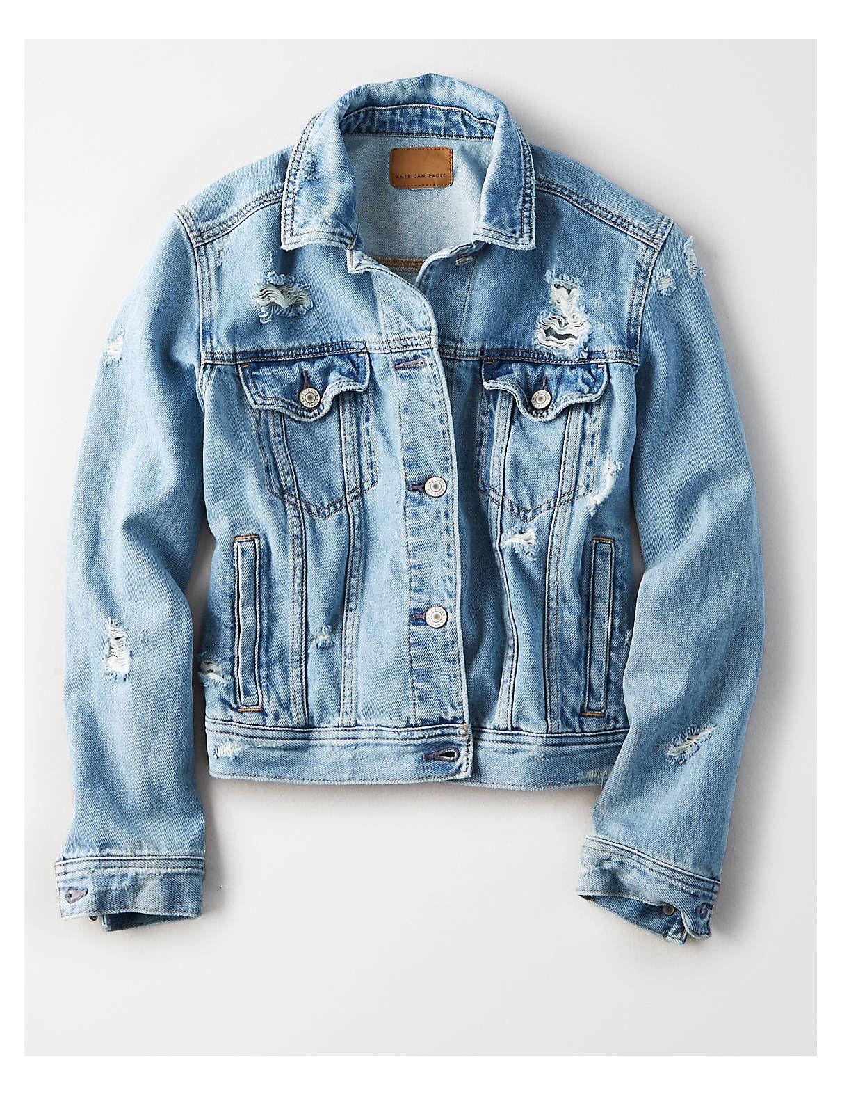 Ae Classic Denim Jacket Blue American Eagle Outfitters Classic Denim Jacket Light Denim Jacket Denim Jacket [ 1575 x 1211 Pixel ]