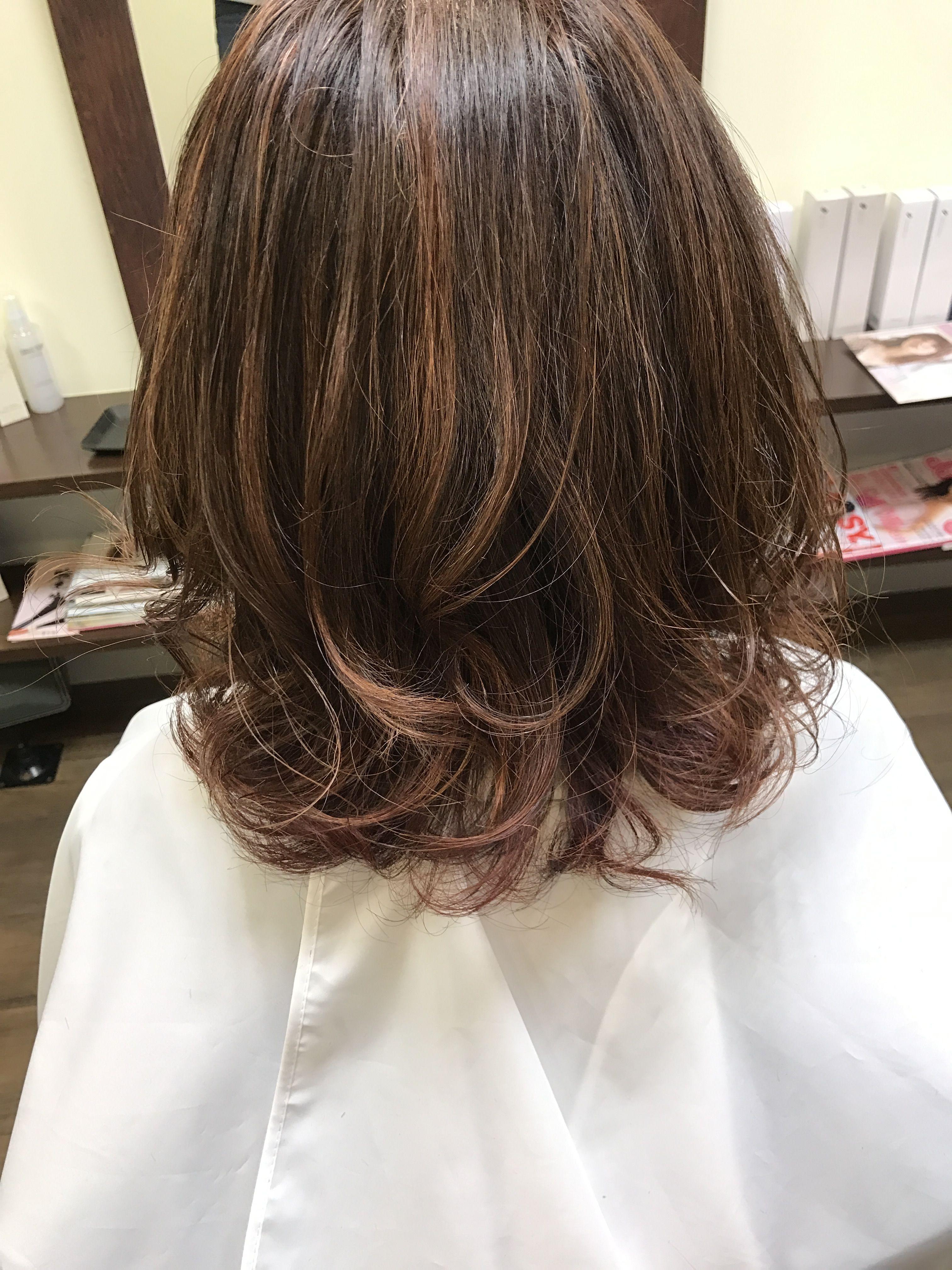前髪 縮毛矯正 カラーリング 襟足 グラデーション 表面 ホイル