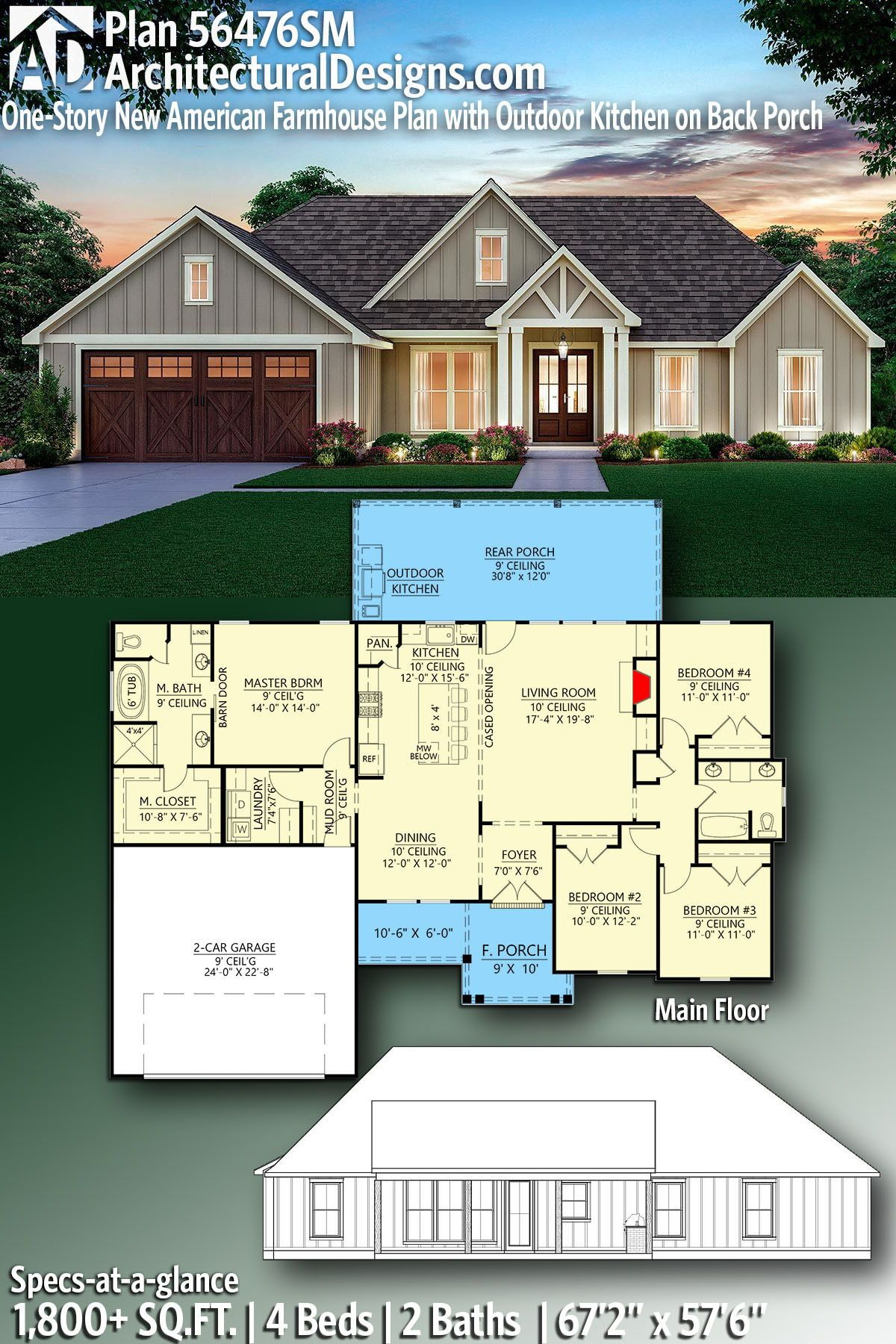 Plan 56476sm One Story New American Farmhouse Plan With Outdoor Kitchen On Back Porch In 2020 Open Floor House Plans Farmhouse Floor Plans Farmhouse Plans