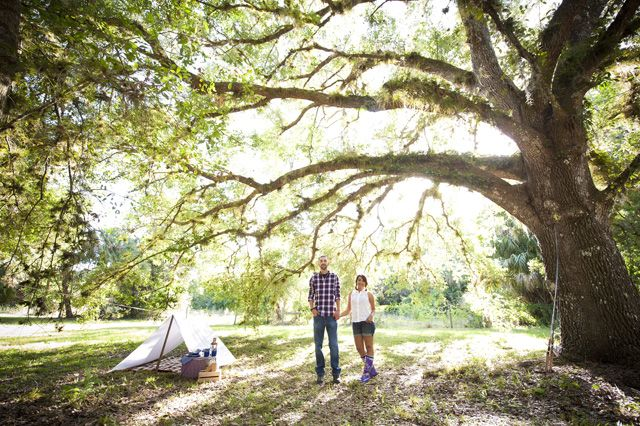 Camping engagement session in Jupiter by Poirier Photography