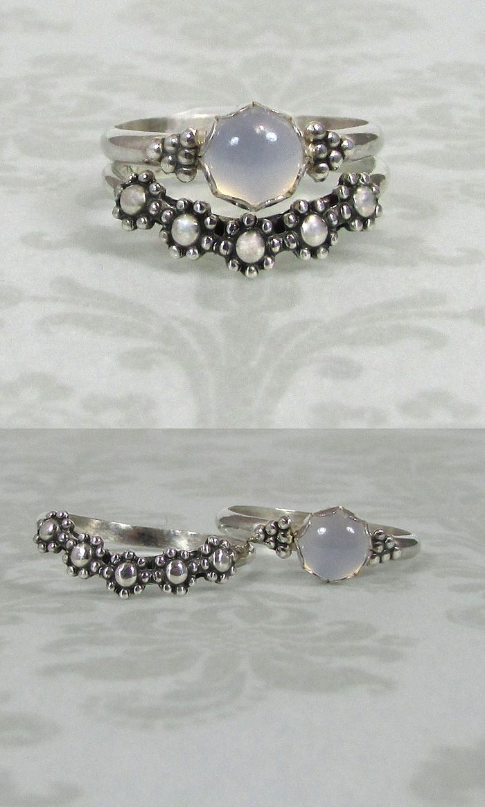 Modern Victorian vintage style blue chalcedony ring and