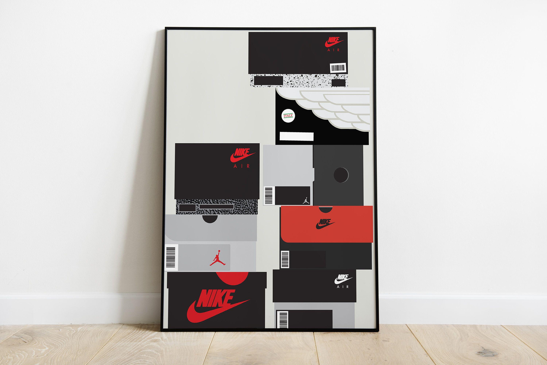 Nike Jordan Shoeboxes Poster Sneakerhead Room Decor Hypebeast Wall Art Sneakerhead Room Hypebeast Room Shoe Room