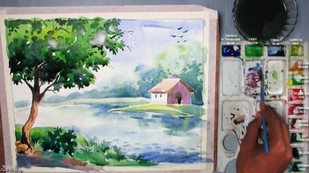 Beginners Watercolor How To Draw A House Landscape Episode 3