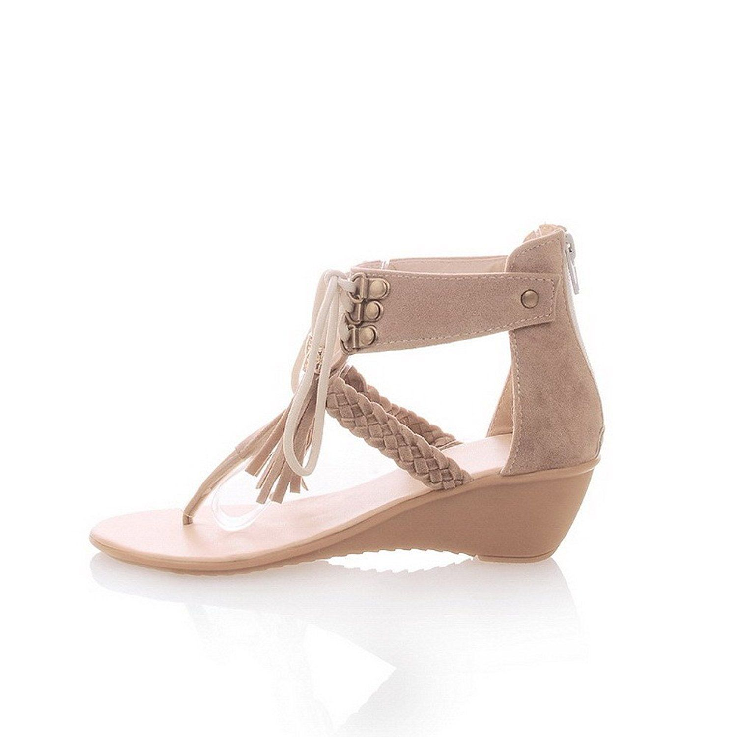 9ba58130a4b9 WeenFashion Women s Solid Imitated Suede Kitten-Heels Split Toe Zipper Flip- Flop-Sandals