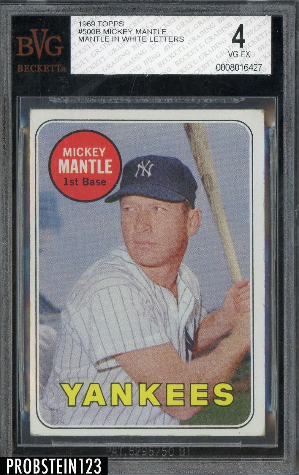 1969 Topps 500b Mickey Mantle Yankees Hof Mantle In White Letters Bvg 4 Baseballcards Mickey Mantle Old Baseball Cards Baseball Cards