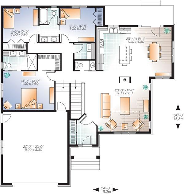 plan maison plain pied 3 chambres - Αναζήτηση Google | Σχεδίαση σπιτιού, Κατόψεις, Σπίτια