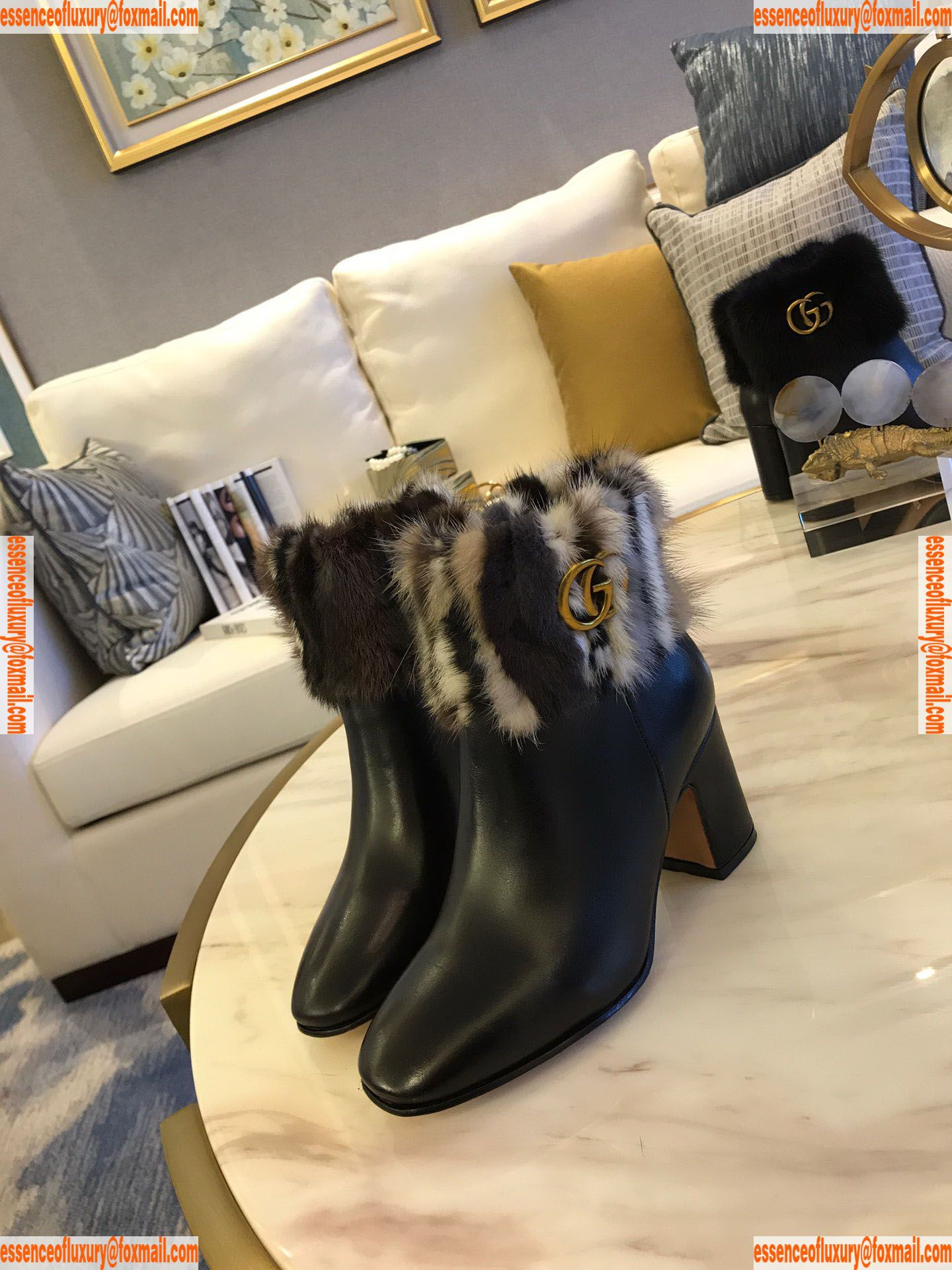 372763b07eef Louis Vuitton Fur Leather Ankle Boot LV Designer Shoes 35 To 40 ...