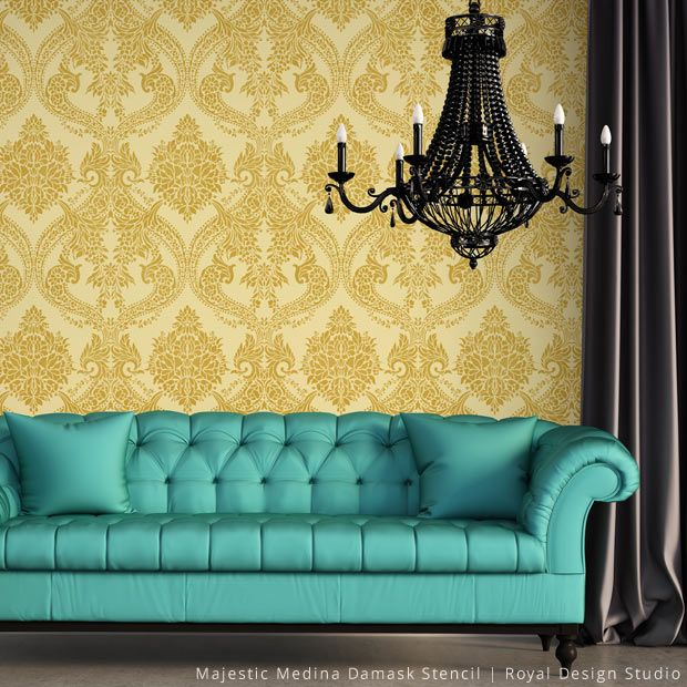 Why Damask Patterns Make Delicious Wall Stencils for DIY Home Decor ...