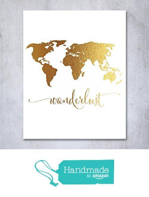 Wanderlust world map gold foil art print travel world traveler wanderlust world map gold foil art print travel world traveler poster modern art contemporary metallic wall gumiabroncs Gallery