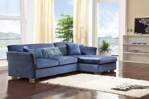 Vasher Blue Microfiber Sectional Sofa   blue living room furniture   home furniture blue   blue sofas sectional