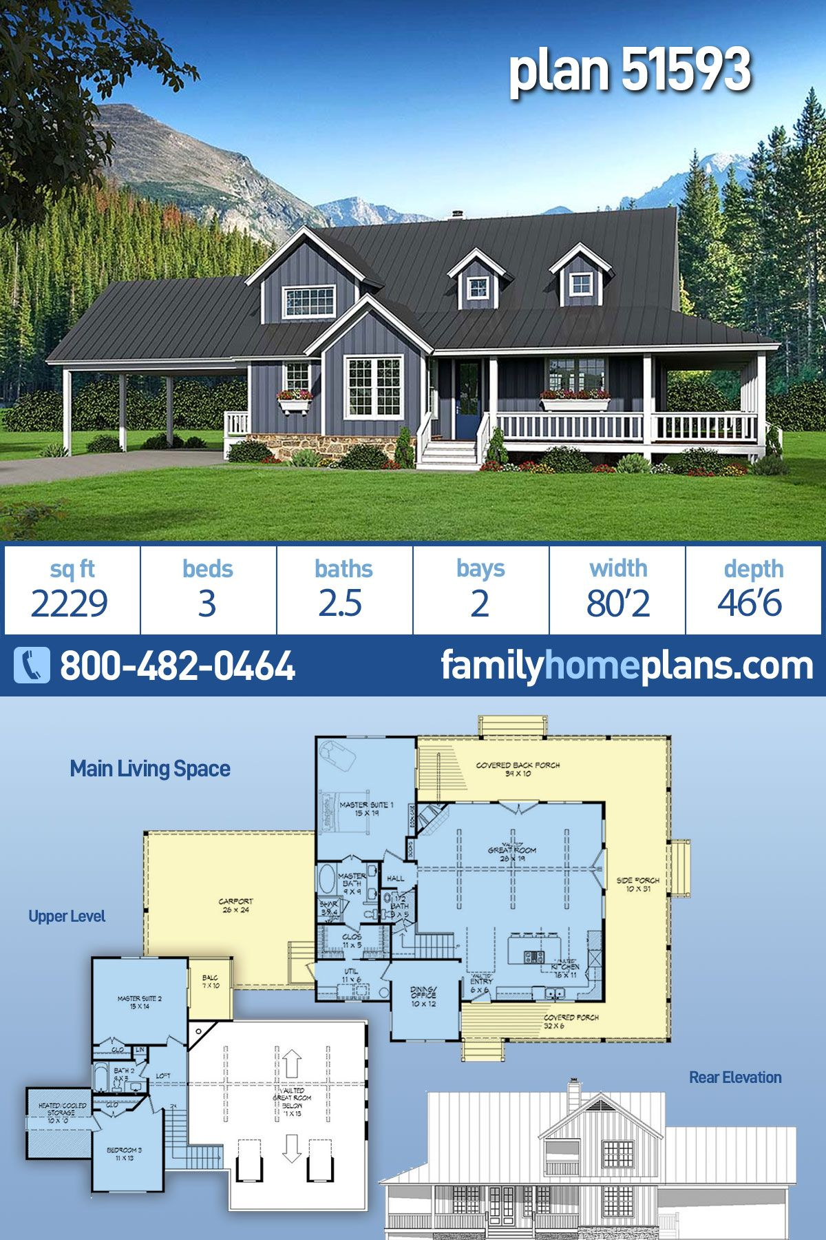 Southern Style House Plan 51593 With 3 Bed 3 Bath 2 Car Garage House With Balcony House Plans Country House