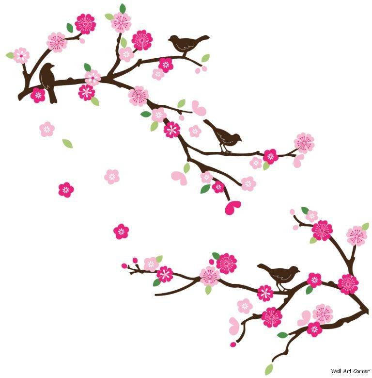 Pink Cherry Blossom Branches And Brown Birds Wall Sticker Decal 4 Clipart Best