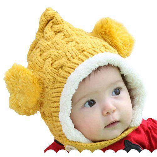 LOCOMO Baby Infant Boy Girl Knit Crochet Rib Pom Pom Winter Hat Cap Hood Warm Yellow LOCOMO Baby Fashion
