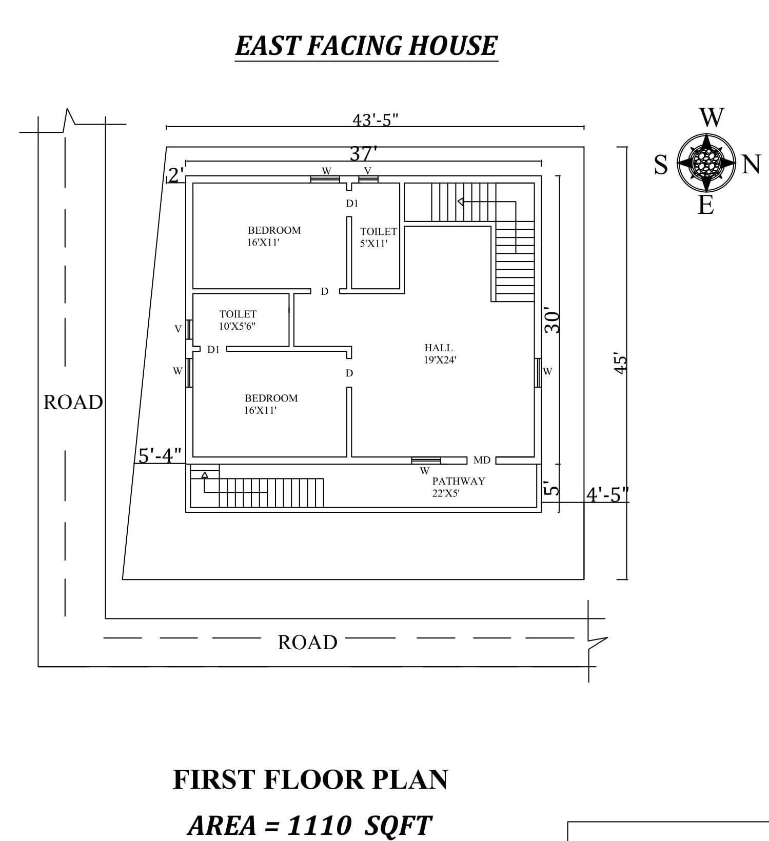 37 X30 East Facing First Floor House Plan As Per Vastu Shastra Autocad Dwg And Pdf File Details One Floor House Plans House Layout Plans House Plans