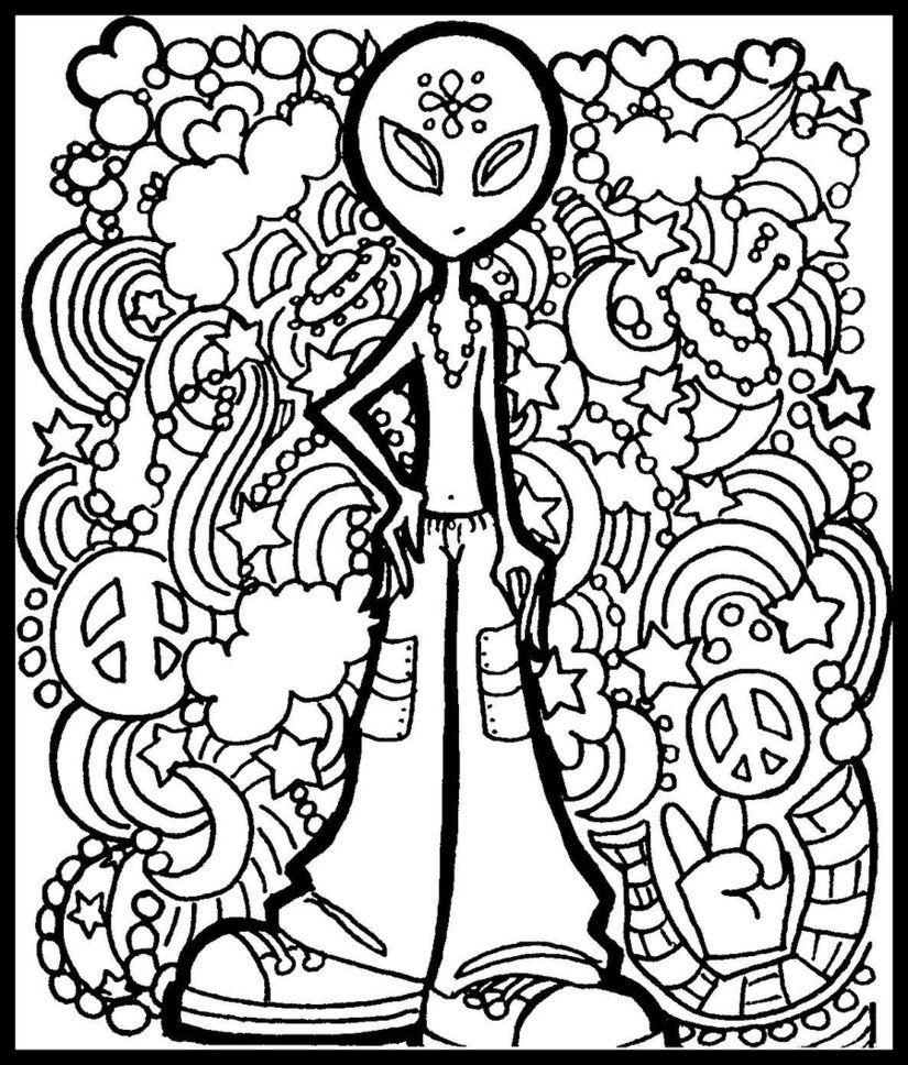 Alien Doodle | Coloring Pages - Hard | Pinterest | Aliens, Doodles ...