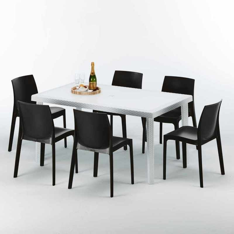 Table Rectangulaire Blanche 150x90cm Avec 6 Chaises Colorees Grand