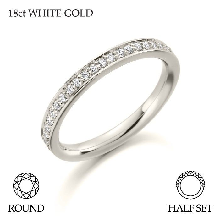 Ladies 18ct White Gold Half Set Brilliant Round Cut Diamond Wedding Ring G SI 0.25ct #Ladies #Brilliant #Round #Cut #Diamond #Wedding #Rings