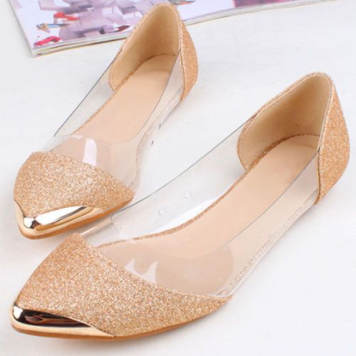 Womens-Hot-Glitter-Clear-Metal-Low-Heels-Sandals-Pointed-Toe-Ballet-Flats
