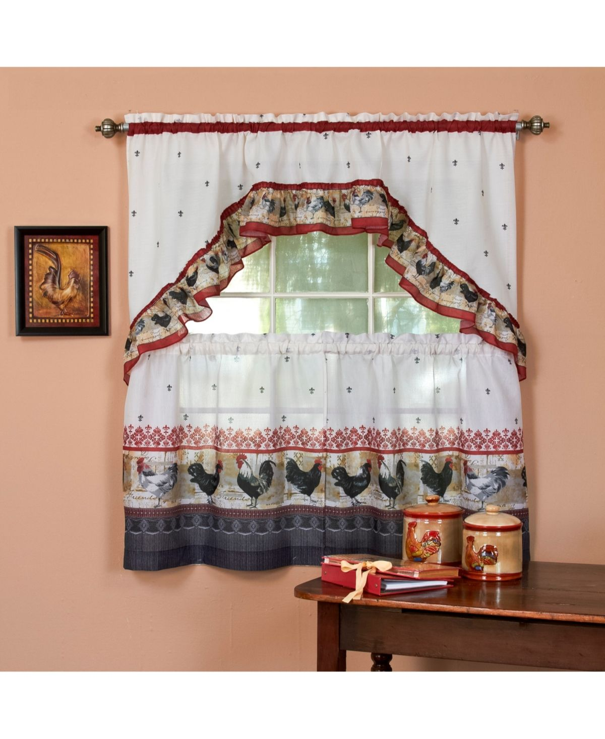 Achim Rooster Printed Tier And Swag Window Curtain Set 57x36