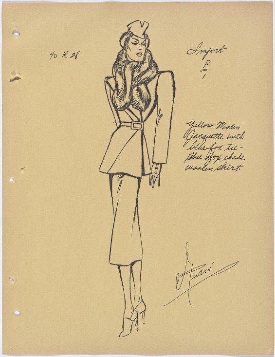 Francevrainmant suit with fur tie at collar -- Alexander, Pearl - griffe für küchenmöbel