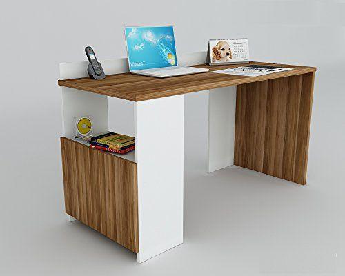Computertisch design  EASY Schreibtisch - Weiß / Nussbaum - Computertisch in modernem ...
