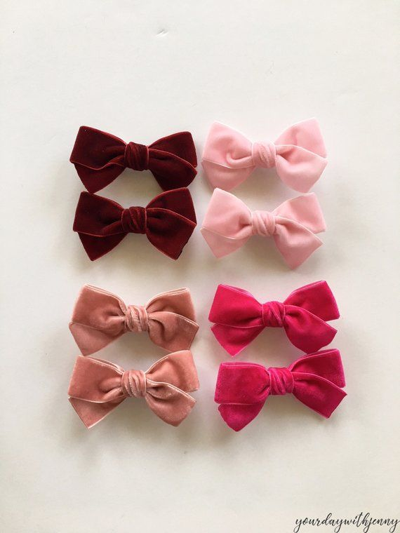 Red Girl/'s Velvet hair bow clip Set