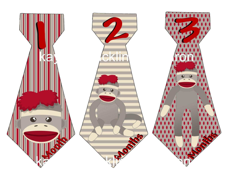 13 Sock Monkey Baby Monthly Onesie Tie Stickers Little Boy ...