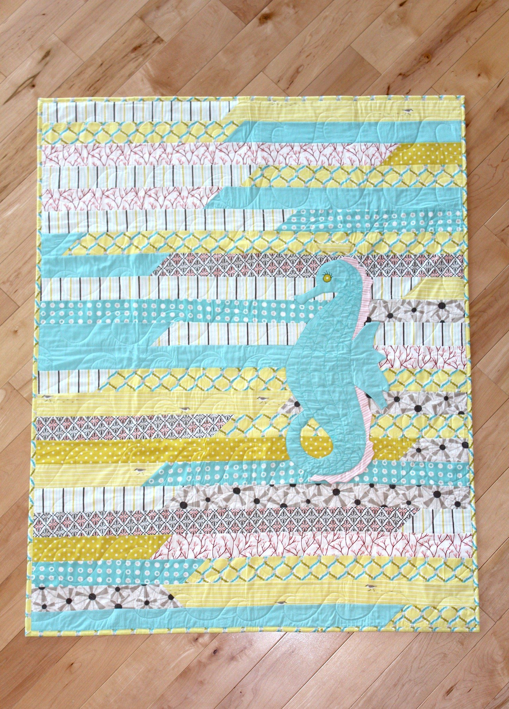 Royal Seahorse Organic Quilt Toddler blanket, Quilts