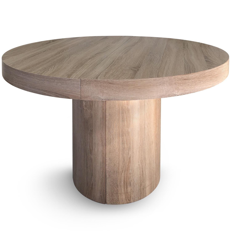 Table Ronde Extensible Suzie Chêne Clair: Table Ronde Extensible Bois Chêne Clair Kiassy 110/260 Cm