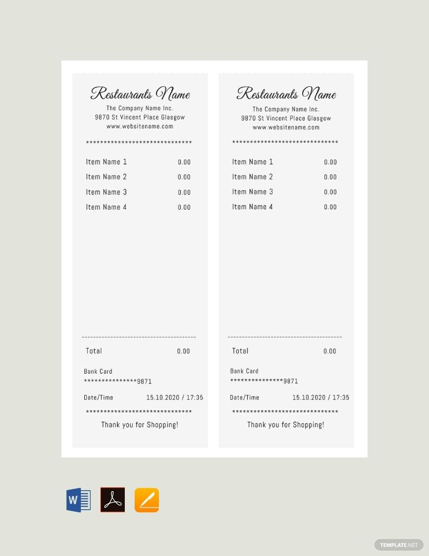 Blank Restaurant Receipt Template Free Pdf Google Docs Word Apple Pages Pdf Template Net Receipt Template Financial Apps Free Receipt Template