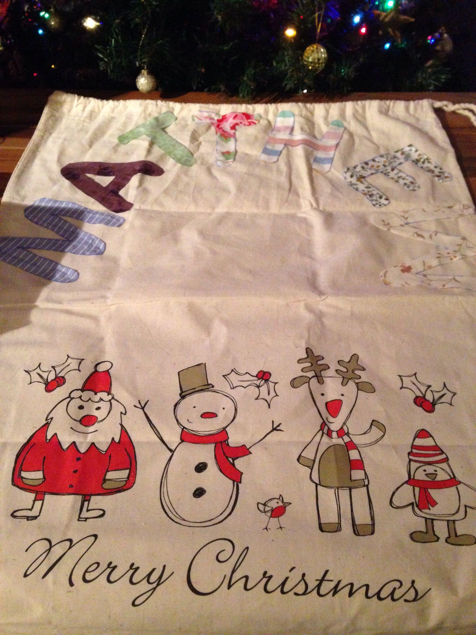 My personalised Santa sack for my nephew xx