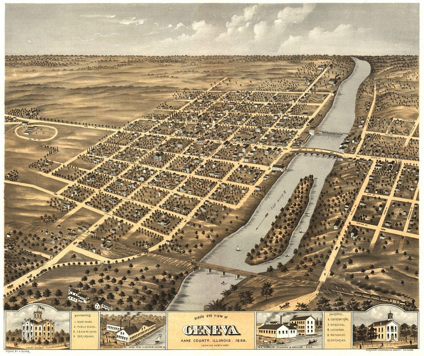 Illinois kane county carpentersville - Old Map Of Geneva Illinois 1869 Kane County Poster