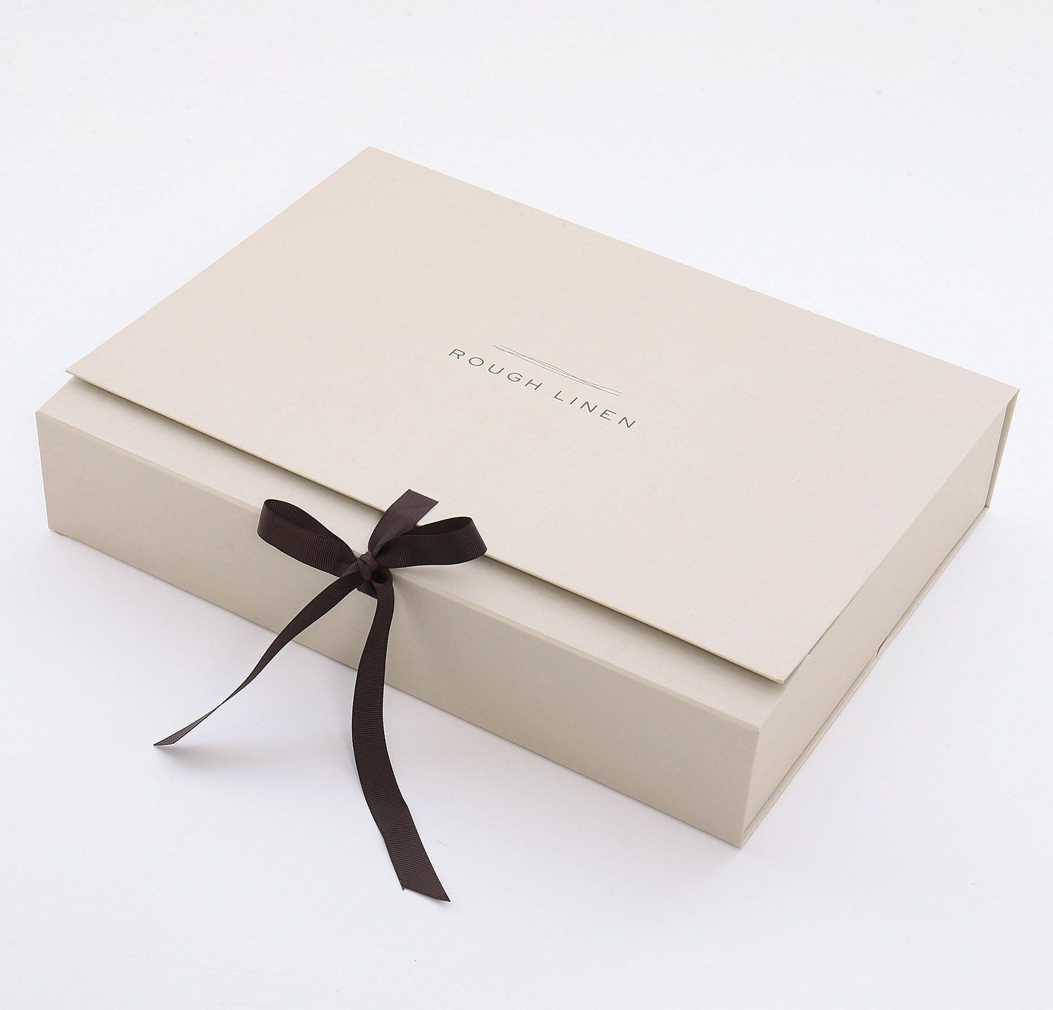 We have always wrapped our linens lovingly in layers of tissue and tied them with ribbon - they deserve nothing less! And now we are going the extra mile with our new beautiful Rough Linen gift boxes, for times you want the presentation to be extra special. These boxes are good enough to keep.Two sizes, small and medium - we can help you decide which size you need. Product Information Dimensions: Small: 8.5
