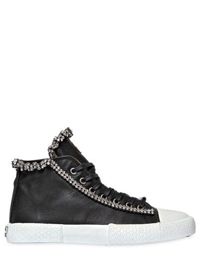 official photos 347a8 3a535 BLACK DIONISO LEATHER & SWAROVSKI TRIM SNEAKERS, BLACK ...
