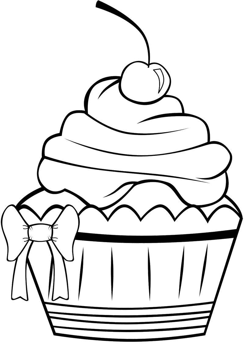 Cute Cupcake Coloring Page Cupcake Desenho Desenhos Preto E Branco