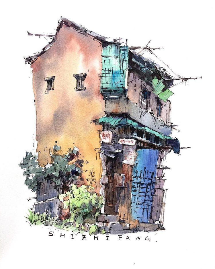 Traveling Watercolor Artist Captures The Charm Of Old Asian Towns