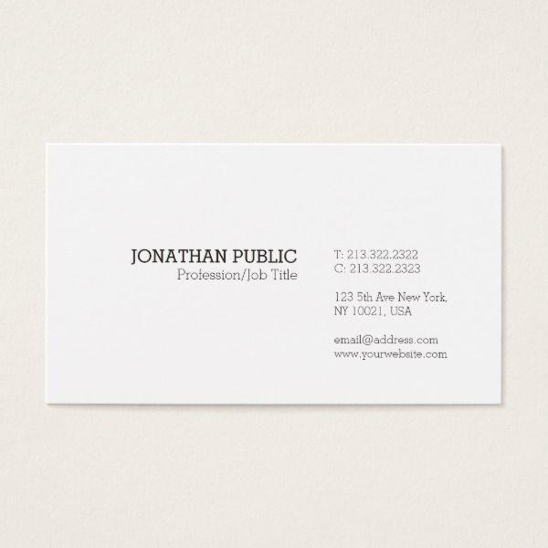 Trending modern elegant minimalistic white plain business card trending modern elegant minimalistic white plain business card custom professional business cards for teachers and tutors reheart Gallery