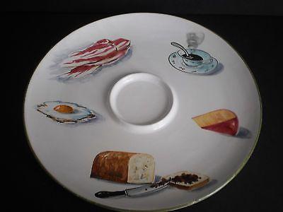 """VINTAGE HANDMADE HAND PAINTED ITALY FOOD~VEGGIE~CHIP/DIP PLATTER 13"""""""
