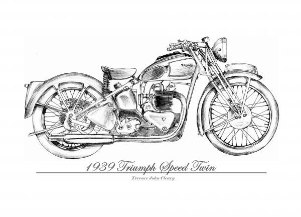1939 Triumph Speed Twin Greeting Card for Sale by Terence
