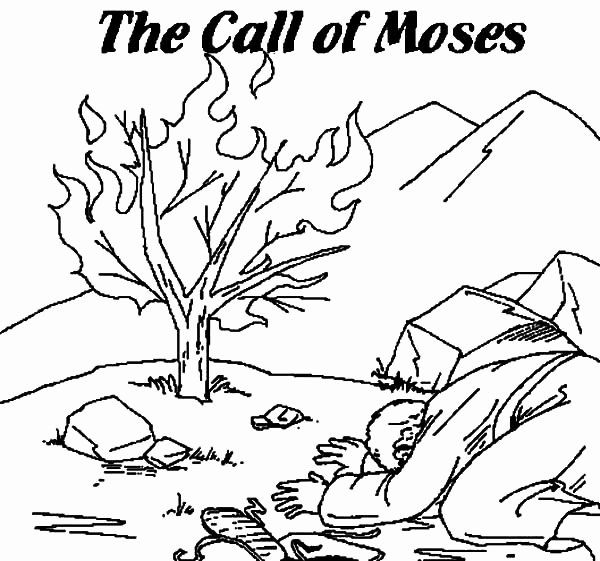 32 Moses and the Burning Bush Coloring Page   Coloring ...