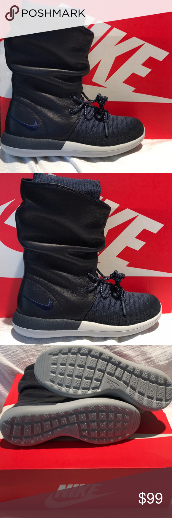 7529a63023833 Nike Womens Roshe Two Hi Flyknit College Navy 6.5 New in the Box Nike Roshe  Run - a sleek and very comfortable lightweight sneaker with timeless design.