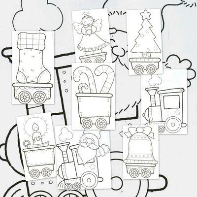 Dibujos para colorear el tren de la navidad - Escuela en la nube - navidad para colorear