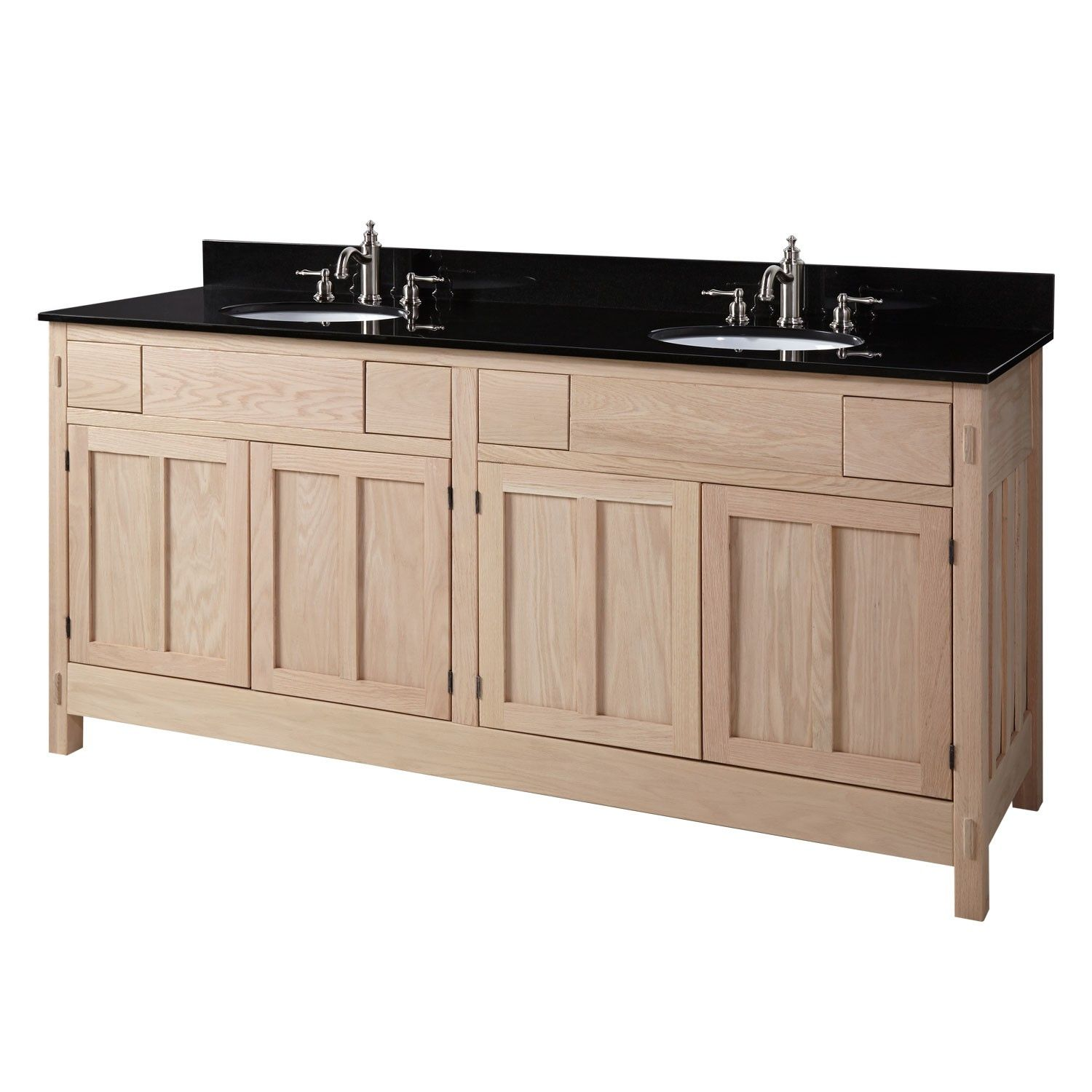 "72"" Unfinished Mission Hardwood Double Vanity for Undermount Sinks - 4 Top Drawers - Bathroom Vanities - Bathroom. This is the one. From www.signaturehardware.com"