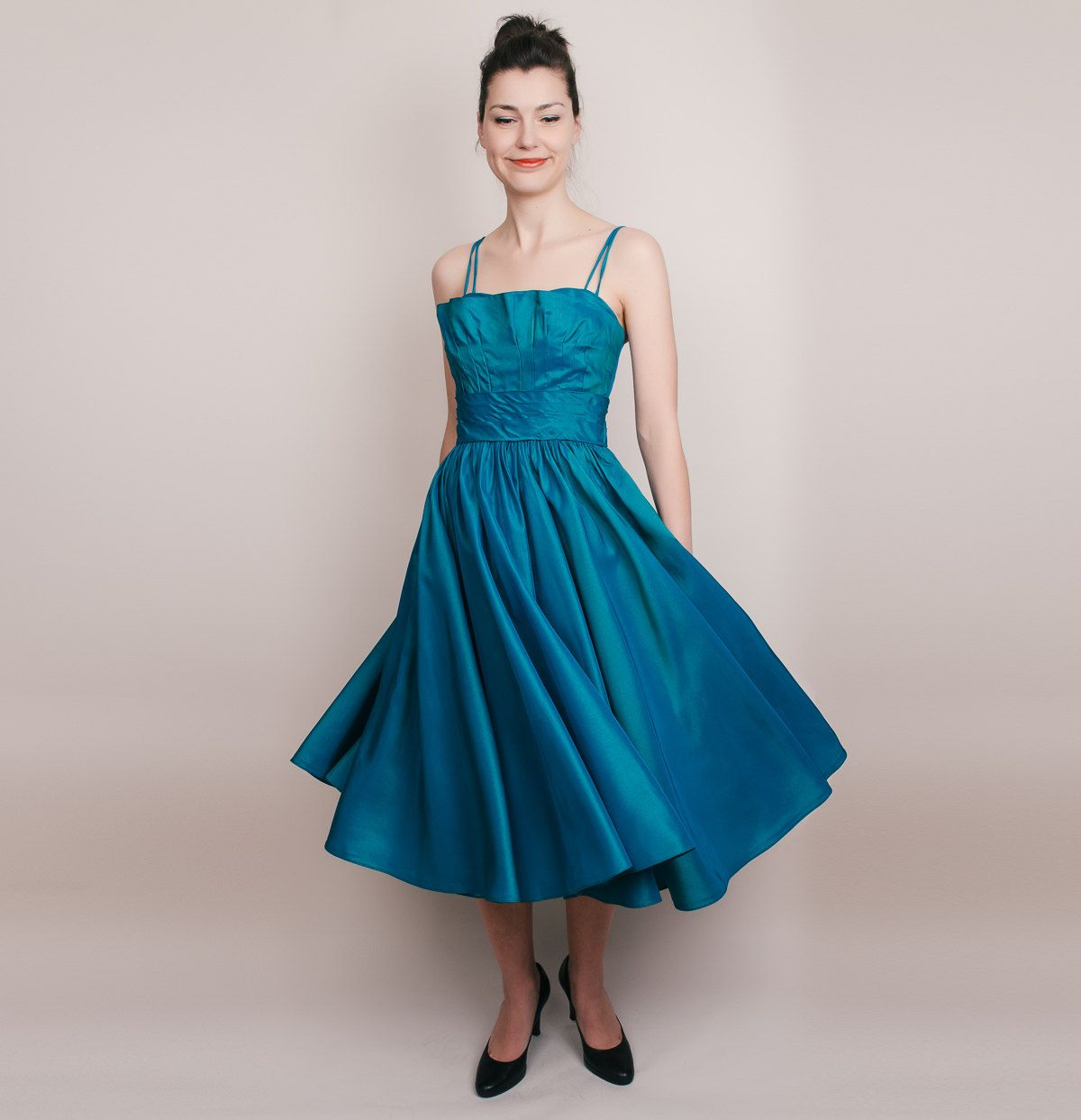 Dresses for 50th wedding anniversary party  s Dress  Vintage s Party Dress  Teal Sharkskin Shimmer  XS
